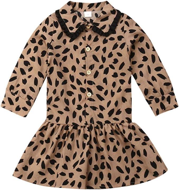 ZOREFINE Falda de Camisa para niñas Falda de Solapa de Leopardo de ...
