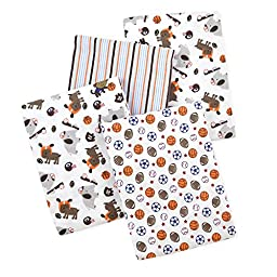 Carter\'s 4 Piece Flannel Receiving Blankets, Sports/Animals/Brown/Blue/Orange/White