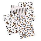 Carter's 4 Piece Flannel Receiving Blankets, Sports/Animals/Brown/Blue/Orange/White
