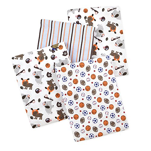 Carter's 4 Piece Flannel Receiving Blankets, Sports/Animals/Brown/Blue/Orange/White