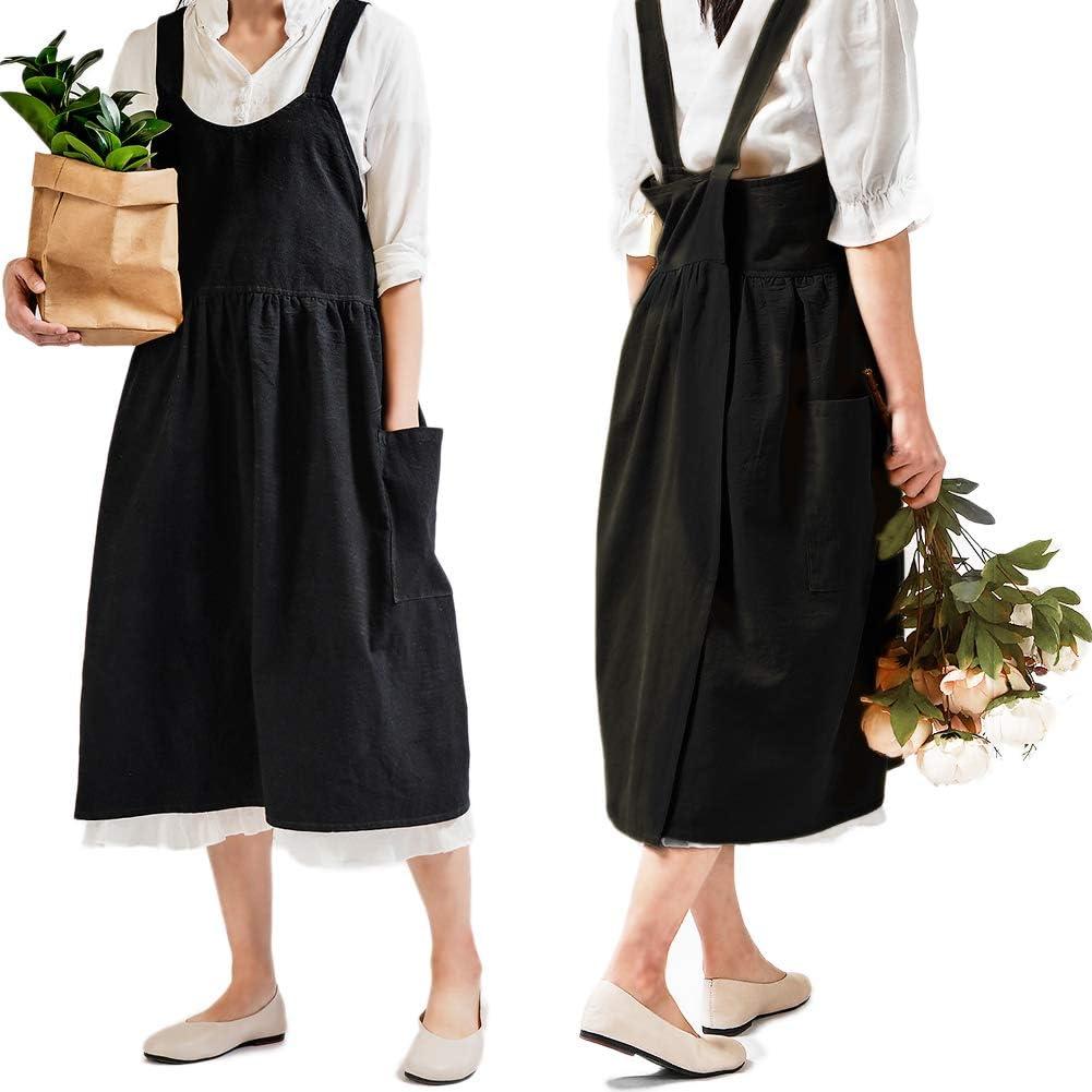 Green linen apron cross back barista apron gardening apron with pocket florist apron