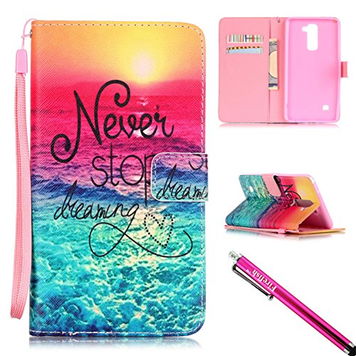 Shell Synthetic Leather (LG G Stylo 2 / LS775 Case, Firefish [Card Slots] [Kickstand] Flip Folio Wallet Case Synthetic Leather Shell Scratch Resistant Protective Cover for LG G Stylo 2 LS775 / LG Stylus 2)