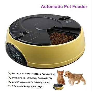 Comedero Automatico Para Perros Y Gatos Dispensador Automatico Con Voz Grabada Hasta 6 Comidas,Yellow