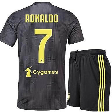 Lakivde Kids Ronaldo New Away Jerseys 18-19 Juventus  7 Football Jersey  Soccer Jersey 22889dc34
