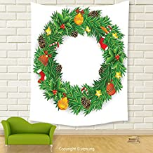 Vipsung House Decor Tapestry_Christmas Decorations Collection Wreath Evergreen With Candy Cane Stockings Mistletoe Red Berry Front Door Decor Green White_Wall Hanging For Bedroom Living Room Dorm