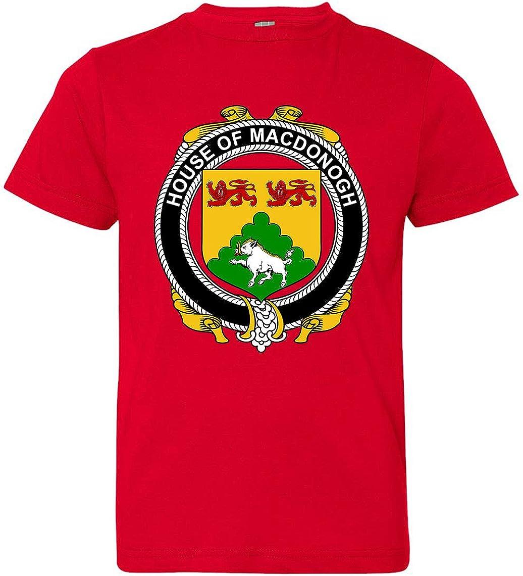 Red Small Tenacitee Boys Youth Irish House Heraldry Macdonogh T-Shirt