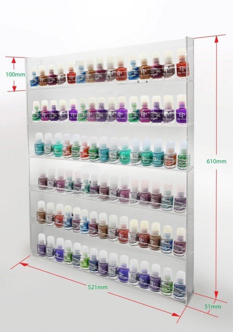 1 High Gloss Acrylic Wall Mounted 6 x 15 Nail Polish Rack Display ANPR23A-090 PC3721