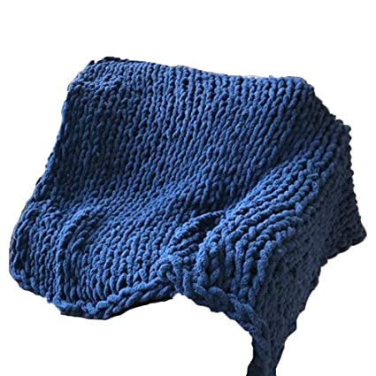 Amazon Navy Blue Hand Knit Throw Blanket 40x40inch Cozy New How To Make A Throw Blanket By Hand