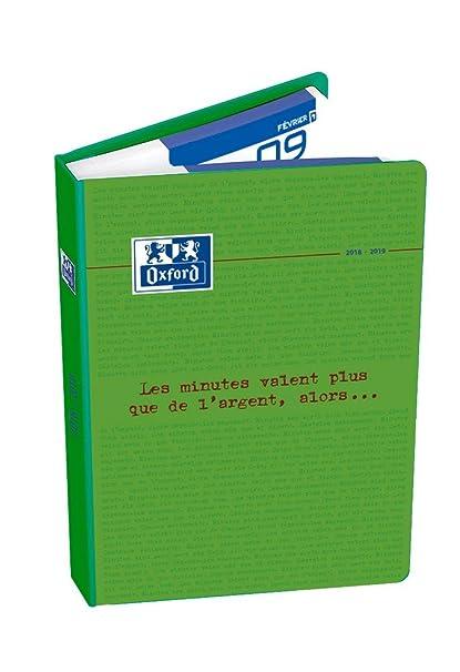 Oxford Spirit agenda escolar (años 2017 – 2018 1 día por página 352 páginas 12 x 18 cm), color verde - En idioma Francés