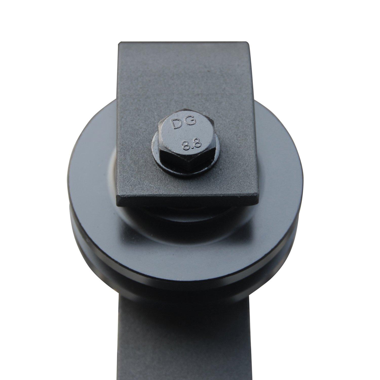 SMARTSTANDARD 10ft Double Door Sliding Barn Door Hardware (Black) (J Shape Hangers) (2 x5.0 foot Rail) by SMARTSTANDARD (Image #5)