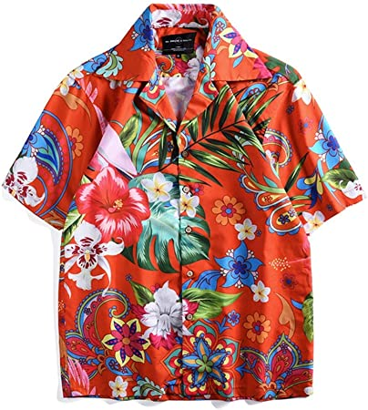 Camisa Hawaiana para Hombre de Manga Corta Flores Imprimir Pareja Street Casual Beach Button Button Shirt (Color : Photo Color, tamaño : XL): Amazon.es: Hogar