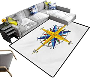"""Compass Large Carpet Colorful Vivid Design Windrose Marine Life Theme Sailing Journey Directions Carpet for Bedroom Yellow Night Blue (5'7""""x6'6"""")"""