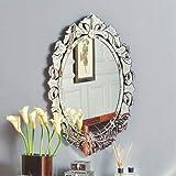 Silver SQUARE FRETWORK Wood Mirror Wall Art PAIR: Amazon ...
