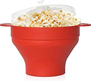 Silicone Microwave Popcorn Popper with Lid, Popcorn Maker Collapsible Bowl for Home, BPA Free and Dishwasher Safe