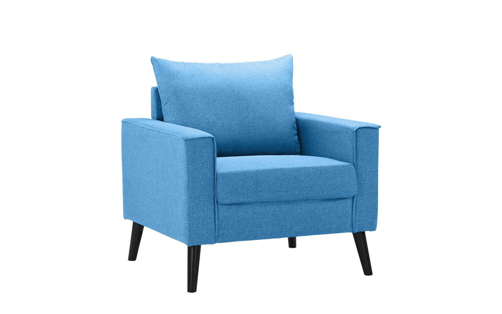 Mid-Century Modern Linen Fabric Armchair Living Room Accent Chair (Sky Blue) - Mid century modern linen fabric wide armchair, perfect as an accent living room piece or a reading nook Features hand picked linen fabric upholstery and tall dark wooden legs with comfortable back and seat cushion Stitching around the frame is exposed giving this furniture piece a touch of modernism - living-room-furniture, living-room, accent-chairs - 617Ef7O7trL -