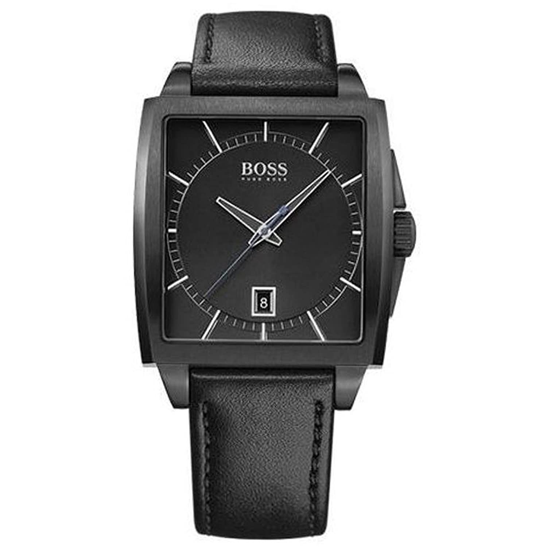 hugo boss 1513226 herren 39 s modern eckig schwarz lederband quarz armbanduhr uhren online kaufen. Black Bedroom Furniture Sets. Home Design Ideas