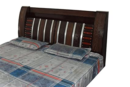 Generic Wooden Line Design Double Bed Silver