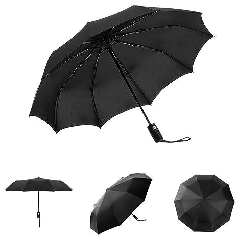 Paraguas,HEIHEI Compacto Paraguas de Viaje Automático Abrir/Cerrar Paraguas Plegables, Negro: Amazon.es: Deportes y aire libre