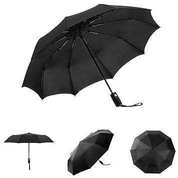 Paraguas,HEIHEI Compacto Paraguas de Viaje Automático Abrir/Cerrar Paraguas Plegables, Negro