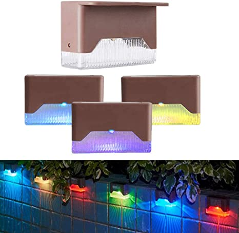 4Pack Solar LED Deck Lights Outdoor Path Garden Pathway Stairs Step Fence Lamp