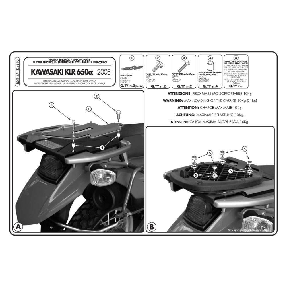 Amazon.com: Givi ADAPTER PLATE KLR650 (08-10) M: Automotive