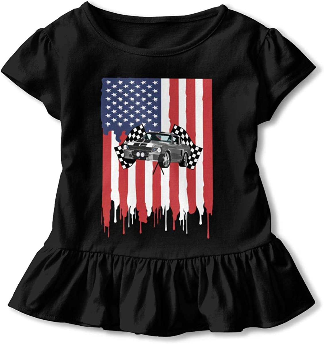 Jumping American Flag Unicorn Kids Girls Ruffled Short Sleeve Tshirt