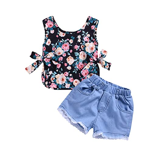 2fc00f32e320 Amazon.com: NUWFOR Toddler Baby Girls Sleeveless Floral Print Tops+Lace  Hole Denim Shorts Outfits: Sports & Outdoors