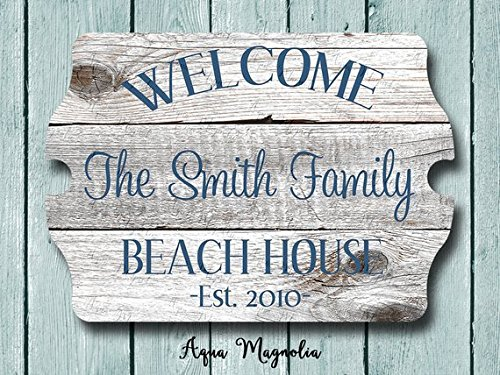 (Custom House Sign - Personalized House Sign - Welcome Sign - Beach House Sign - Lake House Sign - Cottage-Farm House-Home Decor-Beach House 10.9 x 15.4)