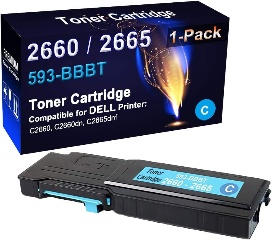 Compatible Bizhub C2660 C2660dn C2665dnf Laser Printer Cartridge (High Capacity) Replacement for Dell 593-BBBT Color Toner Cartridge (1-Pack, Cyan)