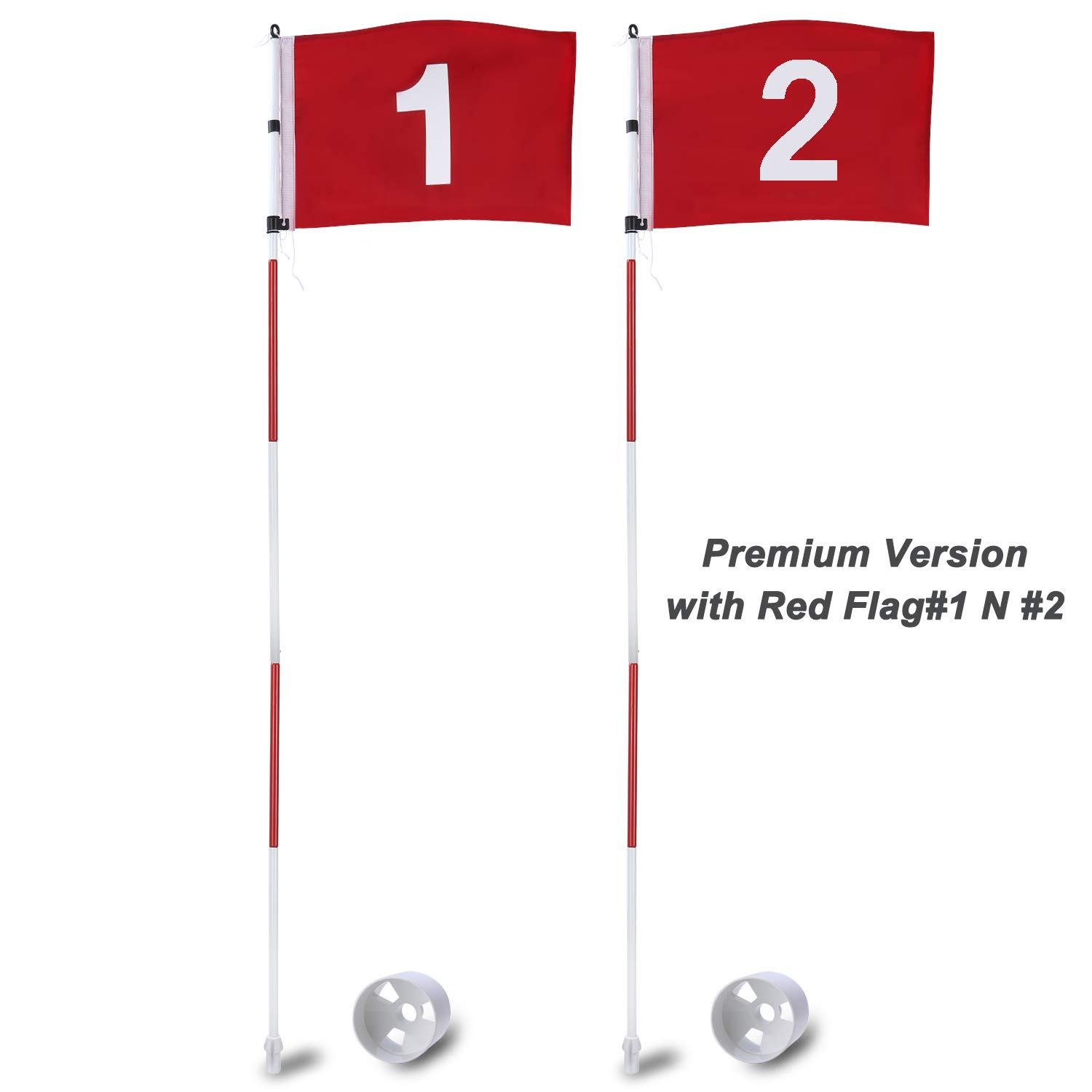 KINGTOP Golf Flags Stick, Practice Putting Green Flagstick Hole Cup Set, Golf Pin Flag for Driving Range/Backyard, Indoor/Outdoor, 5-Section Design, Solid Red Flag Numbered #1, 2, Both 71-inch, 2-Set
