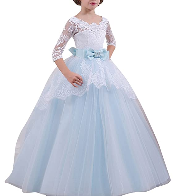 ZhuiKunA Niña Manga 3/4 Encaje Cóctel Cumpleaños Trailing Princesa Vestidos De Boda Azul Claro