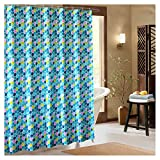 pink and yellow shower curtain - Kingmily Geometric Fabric Shower Curtain, Extra Long, Colourful Hexagon, Blue Yellow Pink (72-by-78 inches, Design 7)