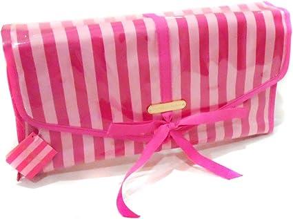 New Genuine Victoria s Secret rayas plegable colgar bolsa de maquillaje estuche de viaje: Amazon.es: Belleza