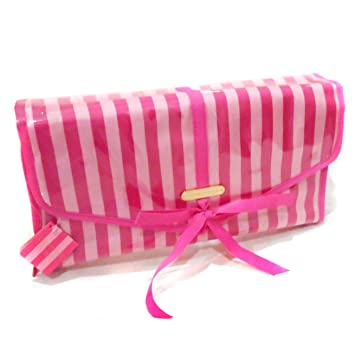 48f471dc57e Amazon.com : Victorias Secret Pink Stripe Hanging Toiletry Makeup Cosmetic  Bag : Beauty