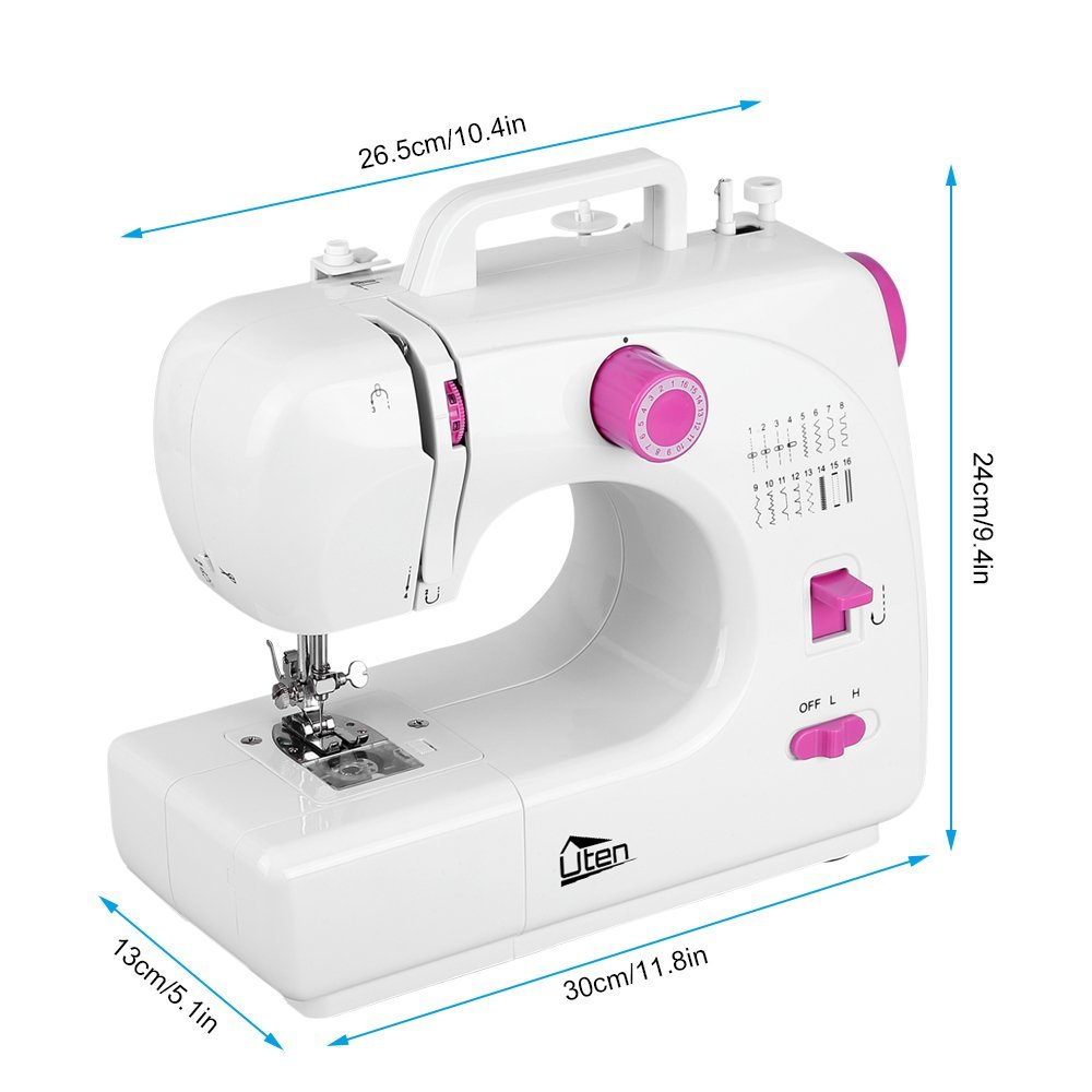 Portable Sewing Machine 2 Speed 16 Stitches Double Thread Needle Overlock Machine
