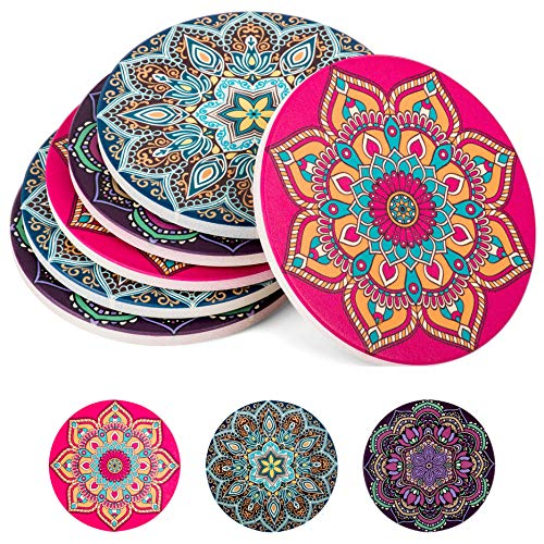 Absorbent Ceramic Stone Coasters for Drinks: Mandala Drink Coaster Set with Cork Back - Round Coasters and Holder Box for Home, Office, Bar - Coffee Table Beverage Cup Mat Sets - 4 Inch, Set of 6 -