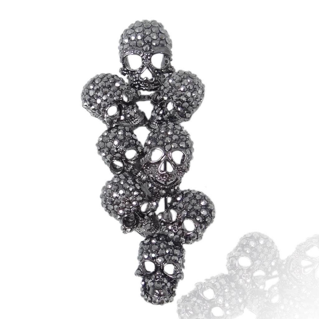 EVER FAITH Austrian Crystal Halloween Gorgeous 8 Skeleton Head Cluster Brooch Black Black-Tone