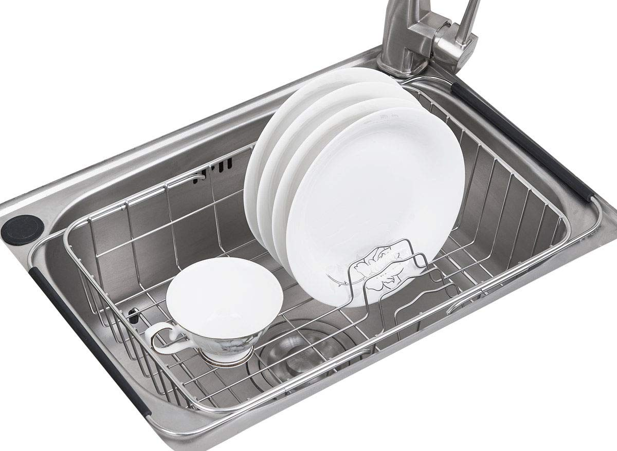 TESOT Adjustable Dish Drying Rack Stainless Steel Over Sink Dish Rack In Sink or On Counter - Rustproof