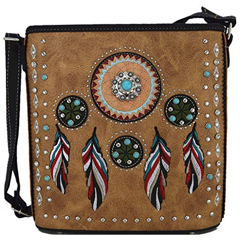 Native Tribal Feather Conchos Cross Body Handbags Concealed Carry Purse Country Women Single Shoulder Bag (Tan)