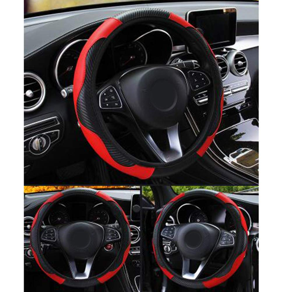 Red Yesoa 1Pcs Auto Steering Wheel Cover Carbon Fiber Car Steering Wheel Cover 15IN//38CM Anti-slip Leather Steering Wheel Cover Elastic Breathable Automotive Decor Supplies