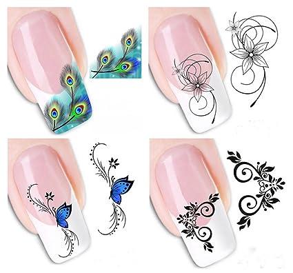 4 Hojas Demarkt 3D Mixed Color Diseño De La Flor Nail Art Pegatinas ...