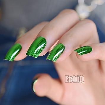 Amazon.com : Square Metallic False Nails Green Shiny Acrylic Nail ...