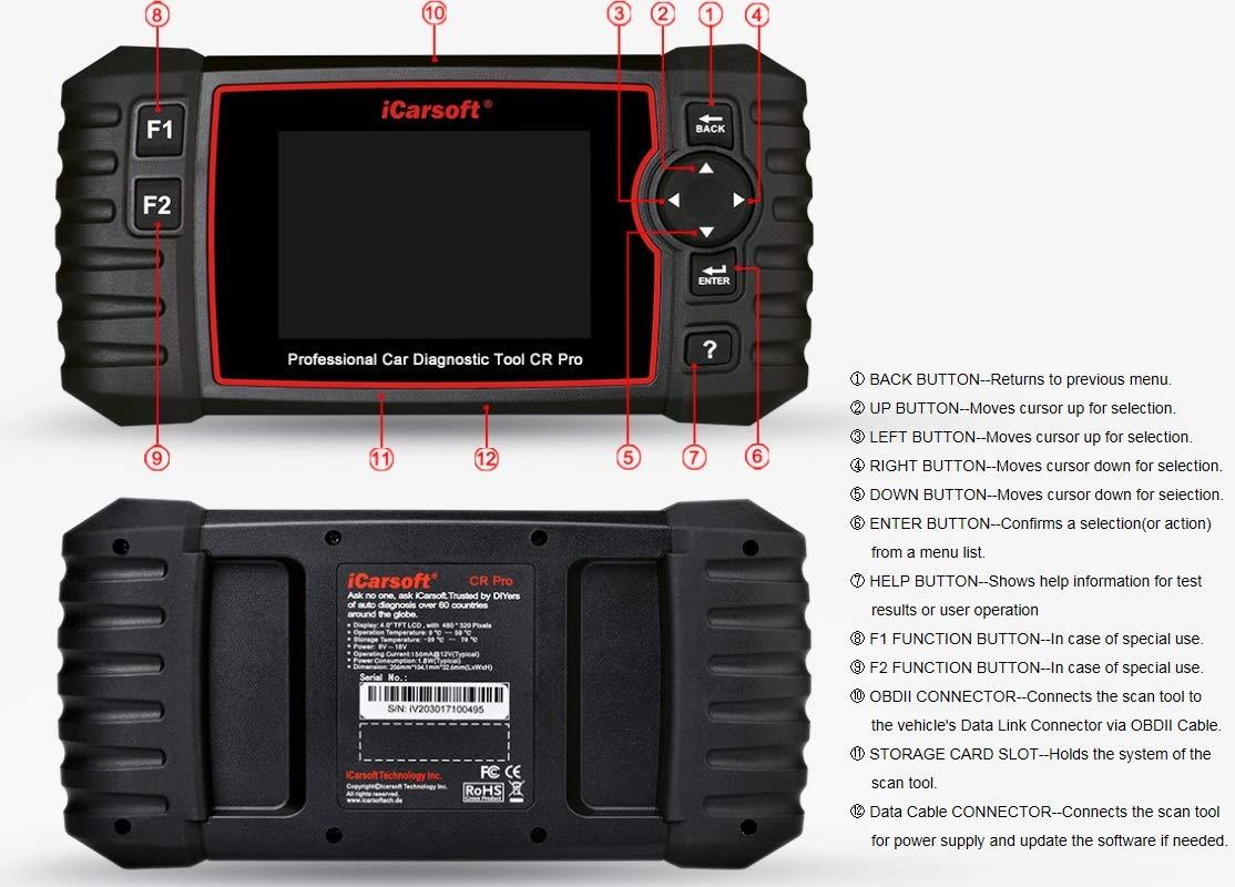 Incluye esc/áner Comprobador de bater/ía Herramienta de diagn/óstico Profesional multisistema para Coche airbag c/ódigos de Problemas ABS iCarsoft CR Pro Lectura y borrado del Motor transmisi/ón