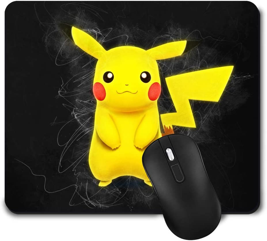 Gaming Mouse Pad,Cute Mouse Mat with Design,Waterproof and Non-Slip Rubber Base Office Mousepad,Middle Size 9.45x 7.87 x 0.08 Inch,Pikachu Colour