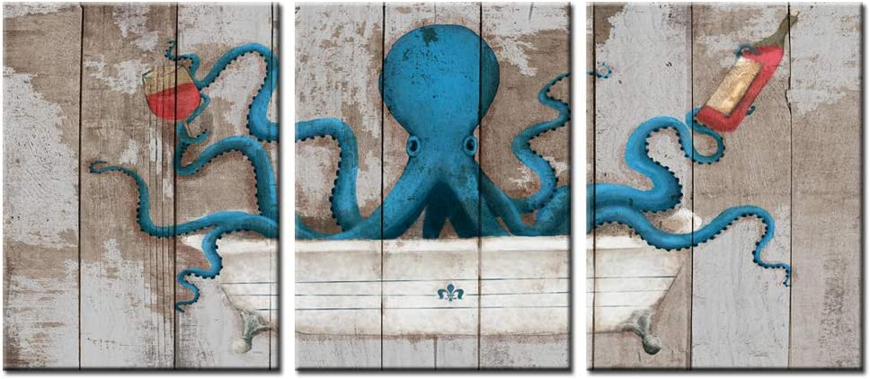 """sechars - 3 Piece Canvas Wall Art Blue Octopus on Vintage Wood Background Painting Art Print Marine Life Picture Poster Framed Modern Bathroom Bedroom Wall Decoration (12""""x16""""x3pcs)"""