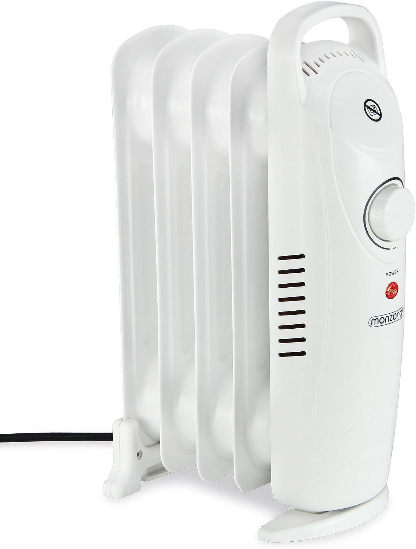Monzana Radiador de aceite silencioso con 5 ranuras portátil 500W termostato regulable robusto calefactor estufa calor