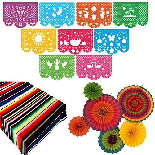 Fiesta Party Supplies | Mexican Decorations Theme | Decor for Wedding, Birthday, Cinco De Mayo, Coco, Taco, etc. | Large Felt Papel Picado Banner | Plastic Serape Table Cover | Colorful Paper Fans