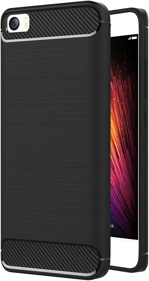 AICEK Funda Xiaomi Mi5, Xiaomi Mi 5 Funda Negro Gel de Silicona Xiaomi Mi5 Carcasa Fibra de Carbono Funda para Xiaomi Mi5 5.0