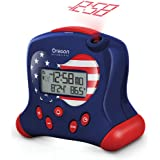 """Oregon Scientific RM313PNFA Hip & Cool Atomic Projection Clock with Indoor Temperature - Special """"Stars and Stripes"""" Patriot USA Flag Edition"""