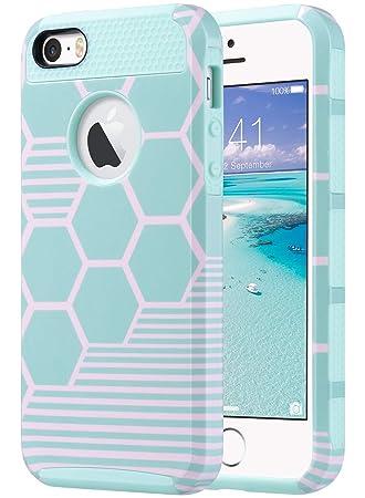 ULAK Caso del iPhone 5S, iPhone SE Funda iPhone 5 Carcasa Cubierta Protectora Dura híbrida de la Caja de la PC + TPU de la Capa Dual Apta Delgada para ...